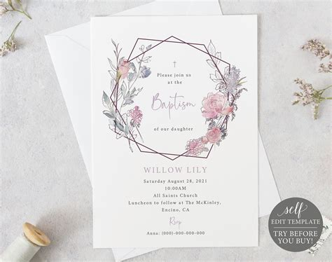 Baptism Invitation Template TRY BEFORE You BUY 100%