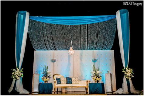 reception stage decor white blue contemporary event