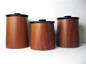 Black Kitchen Canister Sets Modern Walnut Wood Canister Container By Objectofbeauty