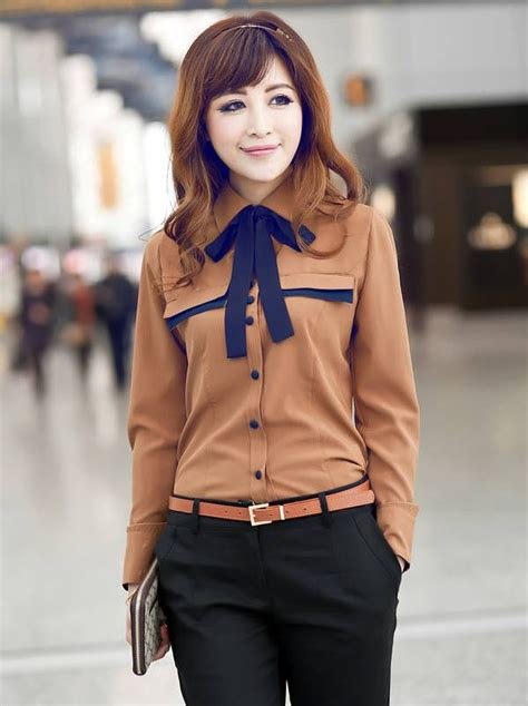Korean Fashion Color Block Long Sleeve Blouse