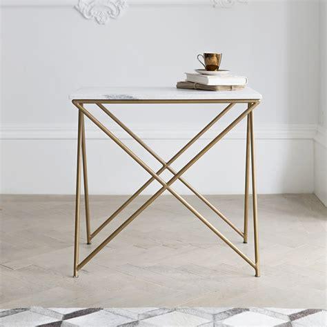 brass bedside stellar white marble side table