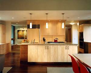 Extraordinary Honey Maple Cabinets with Recessed Lighting