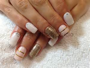 Gel nails white and gold glitter feature nail