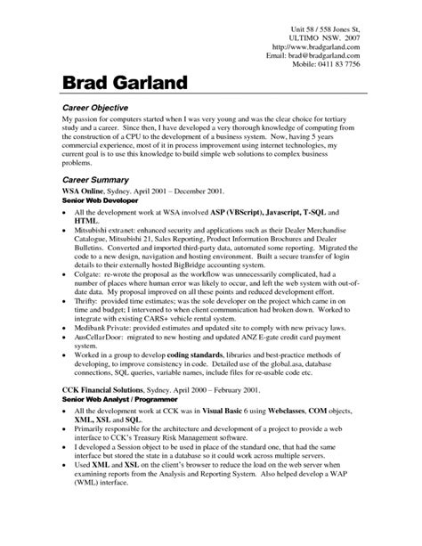 Free Career Objective Exles For Resumes by Resume Templates Without Objective Free Resume Templates