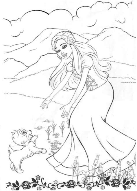 girl  puppy coloring pages    print