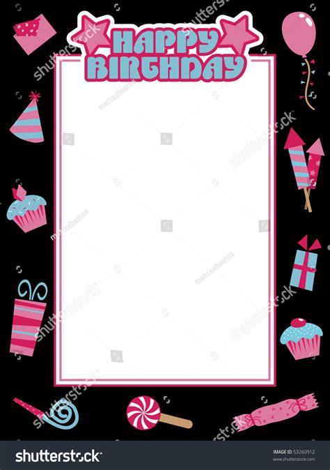 black pink blue happy birthday frame stock vector