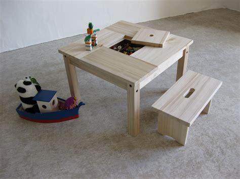 Table Enfant Bois Et Son Petit Banc , Avec Rangement