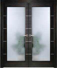 Modern Interior Double Door Italian Black Apricot with Frosted Glass