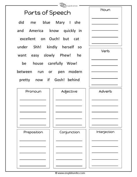 parts of speech sort worksheet answers parts of speech worksheet english unite