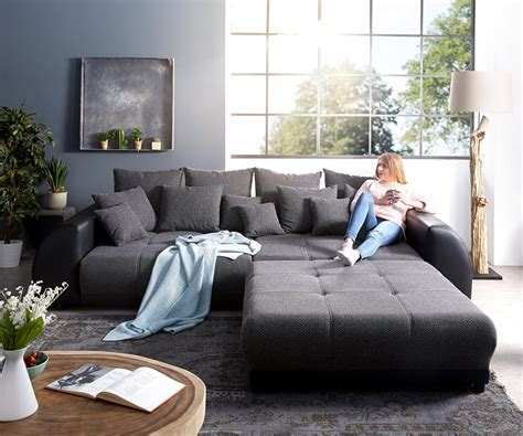 big sofa mit hocker big sofa violetta 310x135 cm schwarz mit hocker m 246 bel sofas big sofas