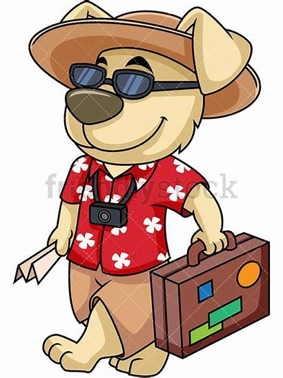 Dog Cartoon Mascot Clipart Traveling Vacation Going