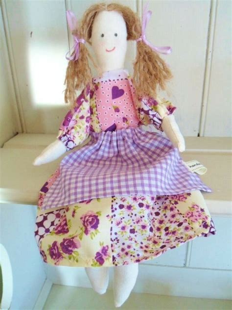 rag doll kit purple patchwork fabric vintage toy craft