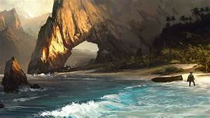 Assassin's Creed Beach Drawing Pirate Arch Rock Stone ...