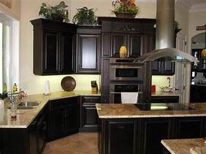 Black color painted oak kitchen cabinet for small kitchen for Kitchen colors with white cabinets with art for large wall spaces