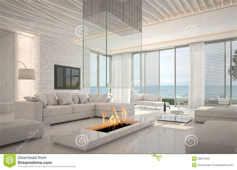 14 Amazing Living Room Designs Indian Style Interior And: Amazing Loft Living Room Interior With Seascape View Stock