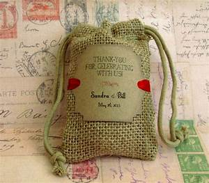 burlap wedding favor bags personalized thank you for With burlap wedding favor bags