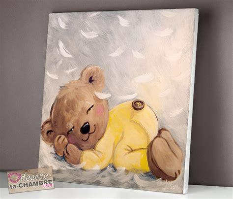 deco ourson chambre bebe tableau ourson endormi sur des plumes vente tableau