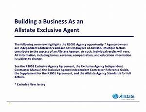 allstate exclusive insurance agency ownership opportunity With business letter to insurance agency