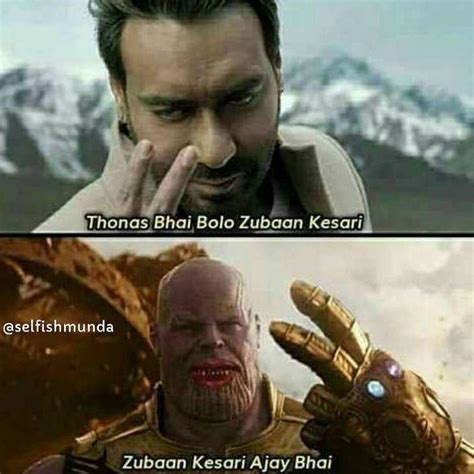 ajay devgn memes kesari meme bolo thanos zuban hilarious india fan understand appeals promoting diagnosed tobacco cancer actor stop gets