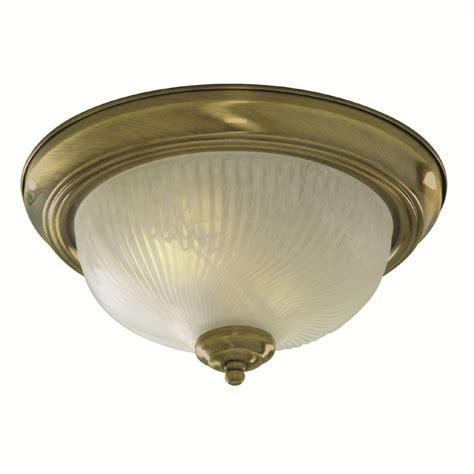 Flush Ceiling Light  Round Antique Brass