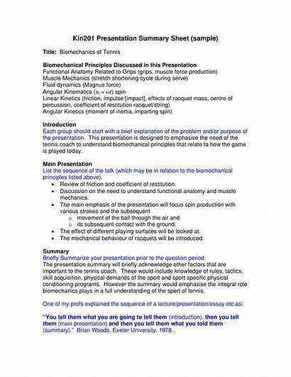Summary Examples Presentation Sheet Example Pdf