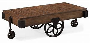 industrial style rectangular cocktail table with casters With industrial style coffee table with wheels