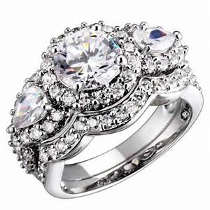 Sterling silver 3 stone round pear cubic zirconia antique for Cubic zirconia wedding rings sets