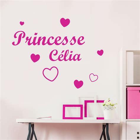 tickers chambre fille princesse stickers chambre filles prénom et coeurs décorécébo
