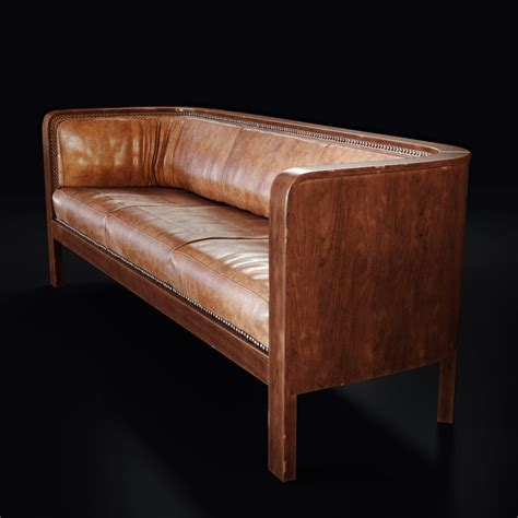 wood frame leather sofa 3d product rendering of jacob kjaer leather sofa lunas