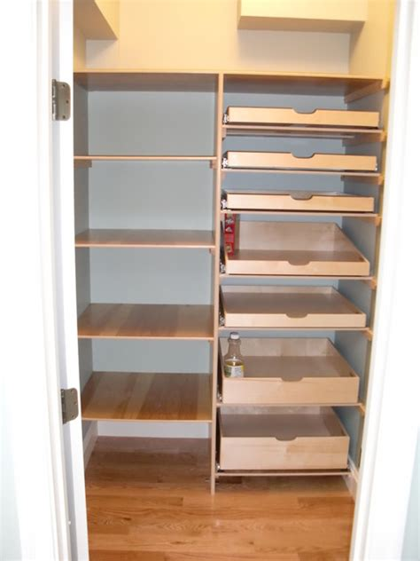 closet walk in pantry pull out shelves boston by