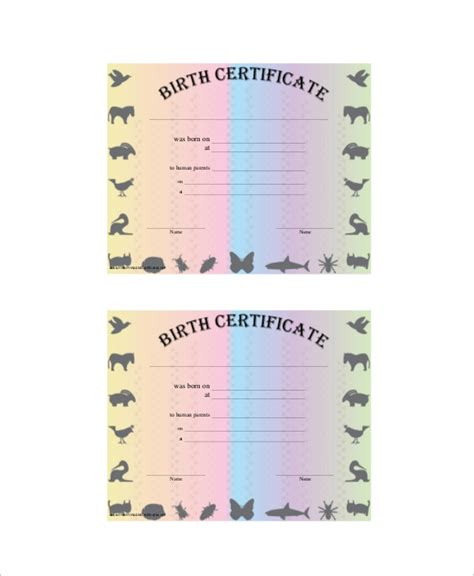 sample birth certificates  ms word