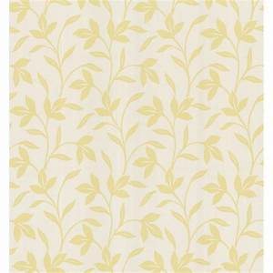 Brewster Simple Space Light Yellow Leaf Trail Wallpaper Sample