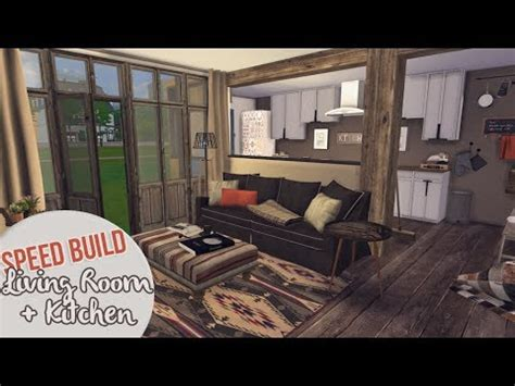 rustic living room kitchen  sims  speed build