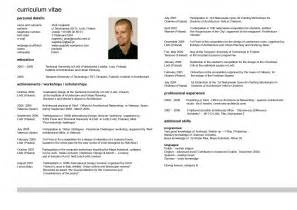 curriculum vitae template html curriculum vitae resume cv exle template