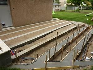 terrasse ciment effet bois wrastecom With construire sa terrasse en bois composite