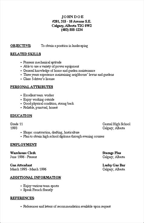 Resume Outline Sle by Outline For A Resume Business Resume Outline