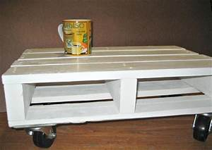 Diy pallet white coffee table with casters pallet for White coffee table with wheels