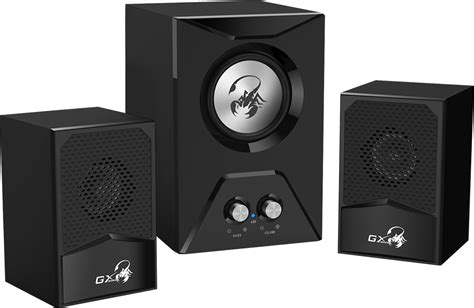 genius sw g2 1 genius 2 1 gaming speaker with wooden subwoofer and clear