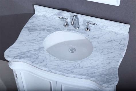 camb white deco vanity  carrara marble top