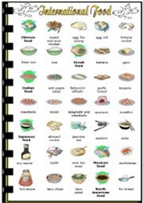 list of international cuisines worksheet international food