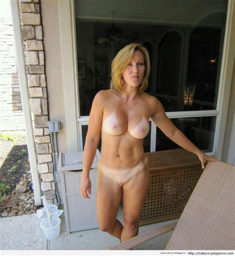 Naked On The Patio Showing Off Tan Lines Beige