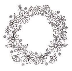 hand embroidery pattern daisy wreath needle work