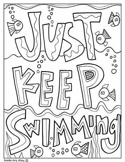 Encouragement Coloring Pages Doodles Testing Classroom Swimming