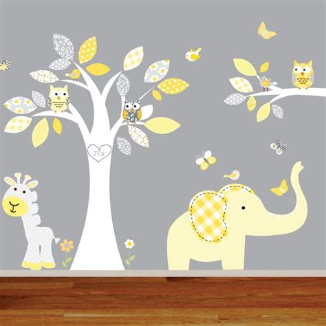 giraffe elephant baby room jungle wall decals monkey