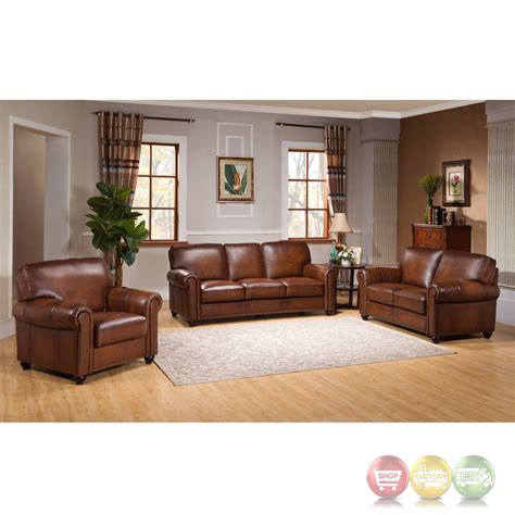 royale olive brown 3 piece sofa set with luxury top grain