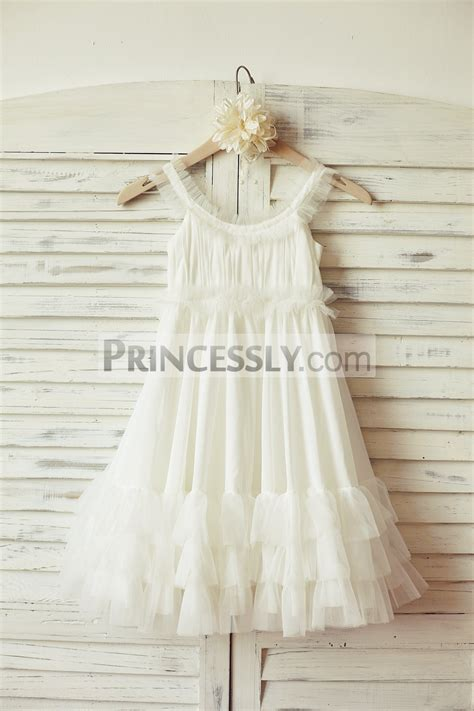 boho beach ivory chiffon tulle wedding flower girl dress