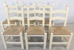 set of six painted wood ladderback rush seat kitchen