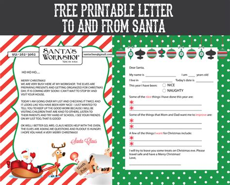 free printable santa letters free printable letter to and from santa sohosonnet 69969