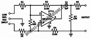 Free Project Circuit Diagram  Low Impedance Microphone