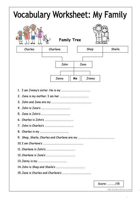 vocabulary worksheet  family easy materi bahasa